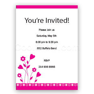 Flowers and Hearts - Custom Invitations