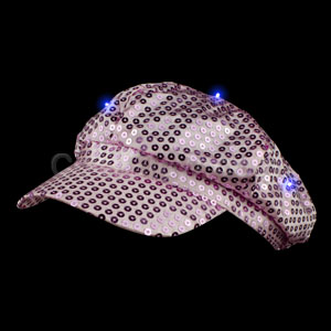Fun Central AI318 LED Light Up Sequin Newsboy Hat - Pink