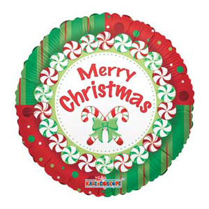 Mints and Candy Canes Metallic Balloon - 18 Inch
