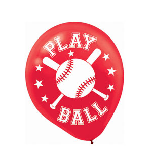 Baseball Printed Latex Balloons- 20ct