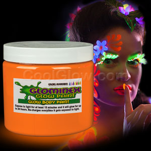 Glominex Glow Body Paint 16oz Jar - Orange