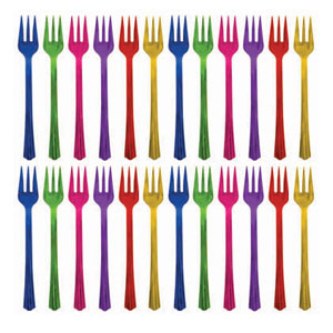 Jewel Tone Cocktail Assorted Forks - 20ct