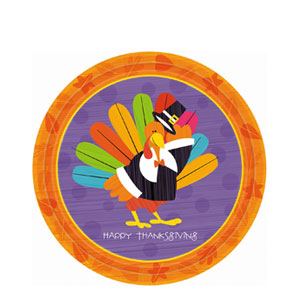 Fun Turkey 7 Inch Plates- 8ct