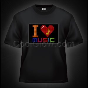 LED Sound Activated T-Shirt - I Love Music