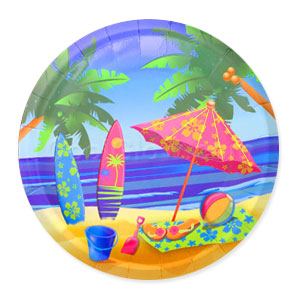 Beach Surf 9 Inch Plates- 8ct