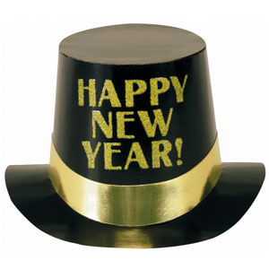 Black Foil with Gold Glitter Happy New Years Top Hat- 6 Inch
