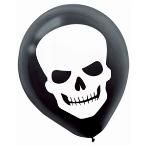 Skeleton 20 Inch Latex Balloons 15ct