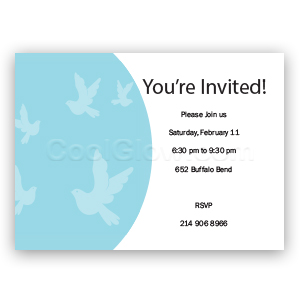 Blue Doves Flying - Custom Invitations