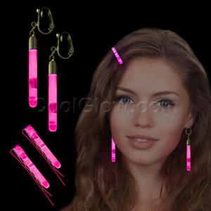 Glow Hair Pins and Earrings Set - Pink