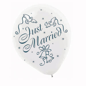 Just Married Balloon - 12 Inch 20 Ct