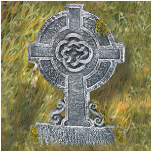 Mossy Celtic Cross Tombstone 22 in.