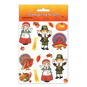 Pilgrim and Turkey Stickers - 4ct
