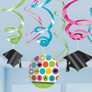 Colorful Commencement Grad Swirls- 12ct