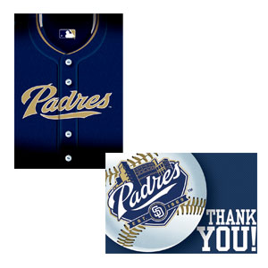 San Diego Padres Invitations and Thank You Cards Set- 16ct