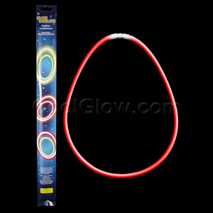 22 Inch Retail Packaged Glow Necklaces - Red