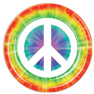 Peace Sign Plates - 7in 8ct