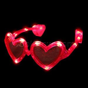 Fun Central AD621 LED Light Up Heart Sunglasses - Red