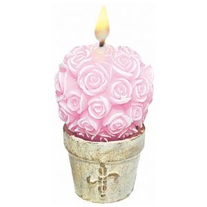 Pink Roses Decorative Candle