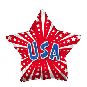 Red USA Star Balloon- 18in