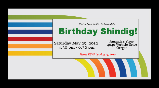 Retro Rainbow - Custom Invitations