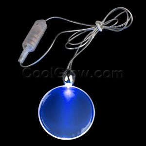 LED Circle Pendant Necklace - Blue