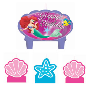 Disney Little Mermaid Mini Molded Cake Candles- 4ct