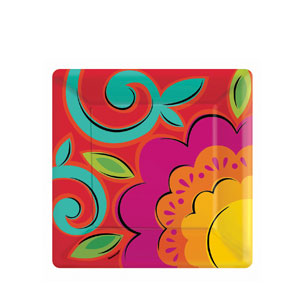 Caliente 7 Inch Square Plates- 18ct