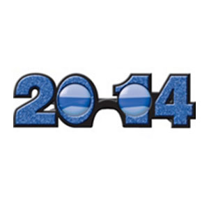 2014 Plastic Glitter Glasses- BLUE
