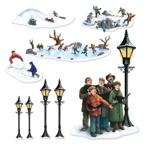 Lampposts Carolers Winter Fun Props - 9ct