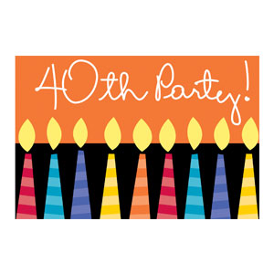 40 Candles Invitations - 8ct