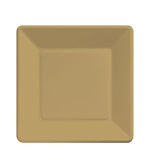 Gold Square 7 Inch Plates- 18ct