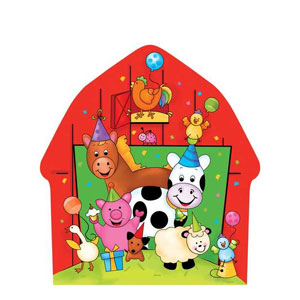 Barnyard Bash 10 Inch Barn Shaped Plates - 8ct
