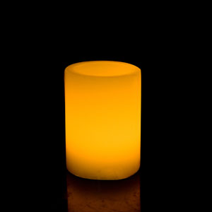 4 Inch Flameless Pillar Candle with Timer - Smooth Edge - Yellow