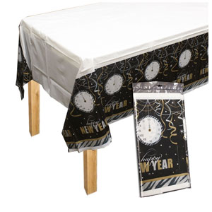 New Year's Countdown Plastic Table Cover