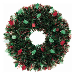 Prismatic Holly Tinsel Wreath- 20 Inch