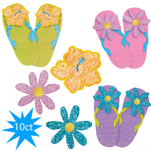 Fun in the Sun Glitter Cutout Assortment- 10pc