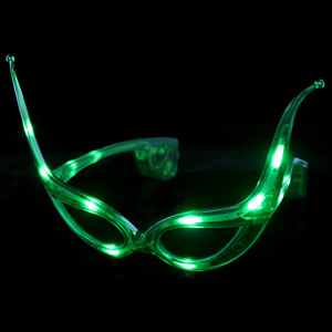 LED Cat Eye Glasses - Green