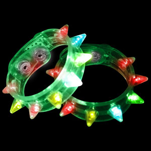 LED Spike Bracelets - Green