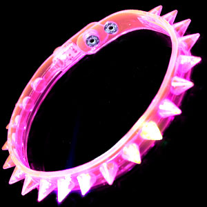 LED Spike Choker Necklace - Pink