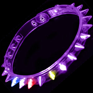 LED Spike Choker Necklace - Purple