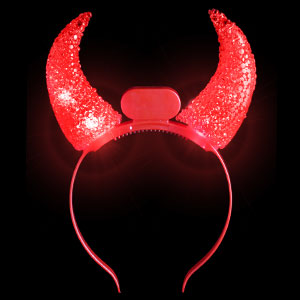 LED Crystal Horns Headband - Red