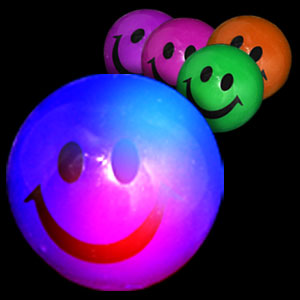 Fun Central R389 LED Light Up Smiley Face Bouncing Balls - Assorted