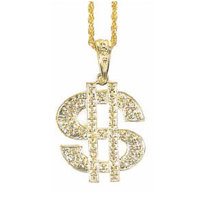 Gold Dollar Sign Casino Necklace- 34in