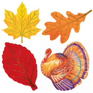 Glitter Colorful Turkey Cutouts- 6ct