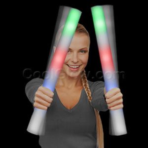 Fun Central AC879 Ready for Imprint - Flashing Foam Stick Baton Premium - Multicolor