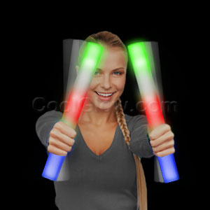 Fun Central AC883 Ready for Imprint - LED Light Up Foam Stick Baton Supreme - Multicolor