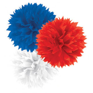 Patriotic Fluffy Decorations - 3ct