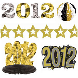 Black Gold  Silver 2012 Decoration Kit - 10pc