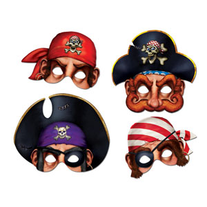 Assorted Pirate Masks - 4ct