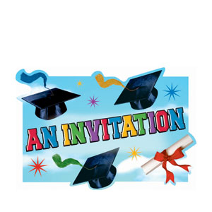 Grad Spirit Postcard Diecut Invitations- 20ct